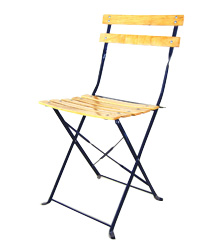 Wooden Slatted Chair Metal Frame $5.00